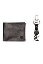 Timberland Sportz Billfold Leather Wallet And Key Fob 2 Piece Set Black