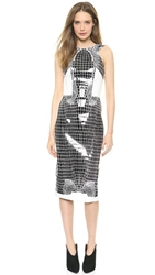 Dion Lee Croc Thermal Backless Dress Black White