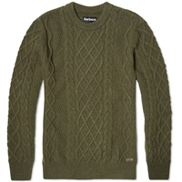 Barbour Kirktown Cable Crew Neck Olive Marl