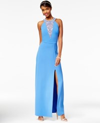Speechless Juniors' Embellished Halter Gown Sky Blue