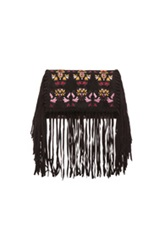 Isabel Marant Shiloh Embroidered Fringe Clutch In Black Abstract