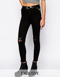 Blend Of America Blend Skinny Jeans With Distressing Black