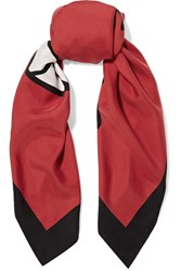 Gucci Printed Washed Silk Twill Scarf Red