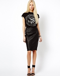 Mango Leather Pencil Skirt Black