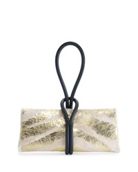 Tom Ford Tubo Zip Metallic Zebra Print Wristlet Clutch Bag Beige