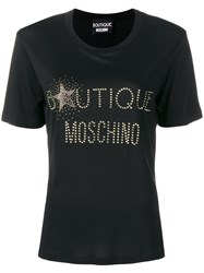 Boutique Moschino Embellished Logo T Shirt Black