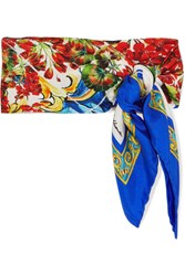 Dolce And Gabbana Printed Silk Twill Scarf Red