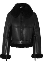 Acne Studios Raf Leather Trimmed Shearling Jacket Black