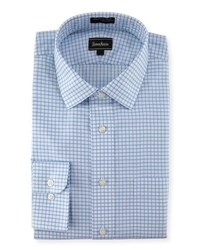 Neiman Marcus Classic Fit Wrinkle Free Dobby Check Dress Shirt Blue