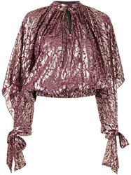 Romance Was Born Floral Metallic Blouse Purple