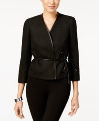 Nine West Tweed Faux Leather Tie Waist Jacket Black
