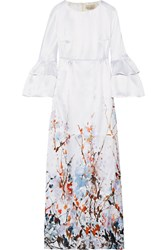 Merchant Archive Printed Satin Gown Ivory Usd