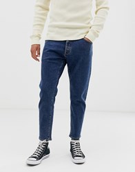 Selected Homme Relaxed Fit Cropped Organic Cotton Jeans In Mid Blue
