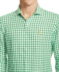Polo Ralph Lauren Gingham Linen Estate Shirt Lime Green