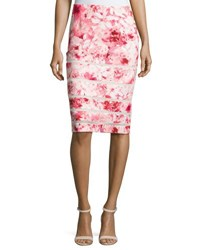 Tahari By Arthur S. Levine Mesh Inset Floral Print Pencil Skirt Pink White