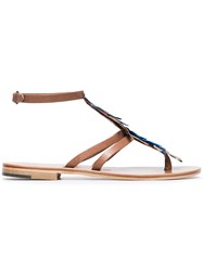 Alvaro Blue Ariana Feather And Leather Sandals