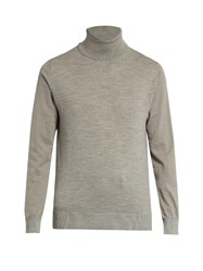 Lanvin Contrast Sleeve Roll Neck Wool Sweater Grey