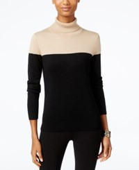 Cable And Gauge Colorblocked Turtleneck Sweater Camel Hair Black