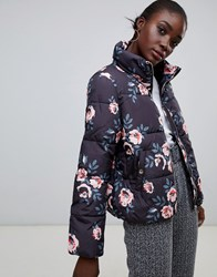Pieces Flower Print Padded Coat Flower Print Multi