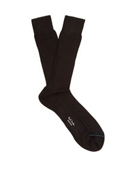 Paul Smith Cotton Ribbed Knit Socks Black
