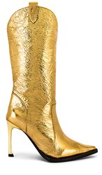 Jeffrey Campbell Cognitive Boot In Metallic Gold. Gold Crinkle