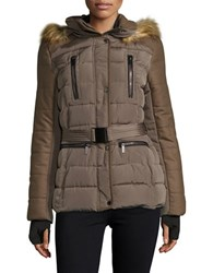French Connection Faux Fur Trimmed Hooded Belted Puffer Coat Taupe