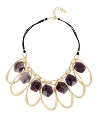 Robert Lee Morris Lavender Amethyst And Leather Frontal Statement Necklace Lavendar