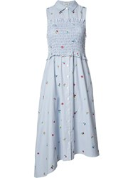Suno Floral Embroidery Striped Dress Blue