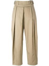 Alexander Wang Pleated Cropped Trousers Nude Neutrals