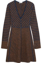 See By Chloe Striped Intarsia Wool Mini Dress Brown
