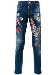 Dsquared2 Metallic Embroidered Jeans Blue