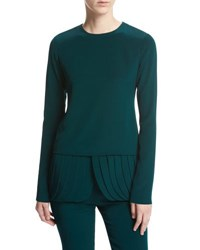 Brandon Maxwell Long Sleeve Crepe Top With Petal Peplum Hem Forest