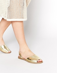 Faith Junction Gold Leather Slingback Flat Sandals