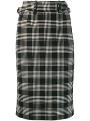 Red Valentino High Wasted Check Skirt Black