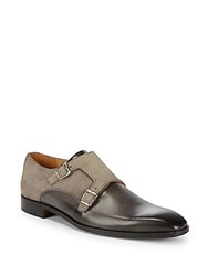 Saks Fifth Avenue Double Monk Strap Leather Shoes Grey