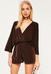 Missguided Brown Slinky Batwing Plunge Playsuit Chocolate