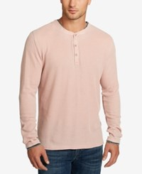 William Rast Men's Kurt Waffle Knit Henley Pale Mauve