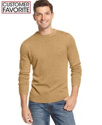 Tommy Hilfiger Signature Solid Crew Neck Sweater Camel Heather