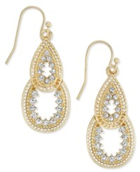 Inc International Concepts Gold Tone Decorative Teardrop Crystal Pave Drop Earrings Only At Macy's
