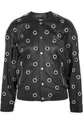 Saint Laurent Eyelet Embellished Leather Bomber Jacket Black