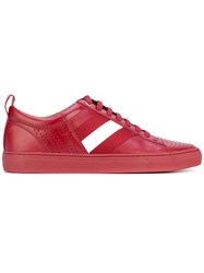 Bally Lace Up Sneakers Men Calf Leather Leather Rubber 5 Red