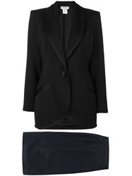Yves Saint Laurent Vintage Shawl Lapel Skirt Suit Black