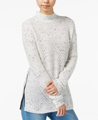 Bar Iii Faux Leather Trim Mock Neck Sweater Only At Macy's Washed White Combo