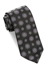 Alara Silk Textured Floral Medallion Tie Black