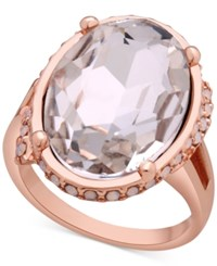 Guess Oval Crystal Cocktail Ring Rosegold