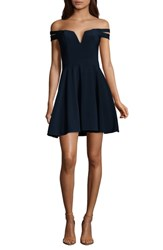 Xscape Evenings Off The Shoulder Double Strap Party Dress Navy