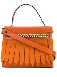 Casadei Chain Trimmed Tote Bag Women Calf Leather Polyester Calf Suede One Size Yellow Orange