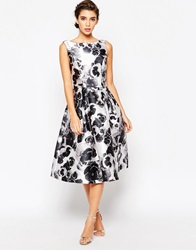 Chi Chi London All Over Floral Full Prom Skater Dress Monofloral