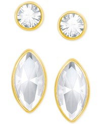 Swarovski Gold Tone 2 Pc. Set Crystal Stud Earrings