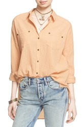 Women's Free People 'Love Her Madly' Puckered Top Cantaloupe